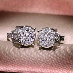 *18K White Gold Diamond All Around Stud Earrings